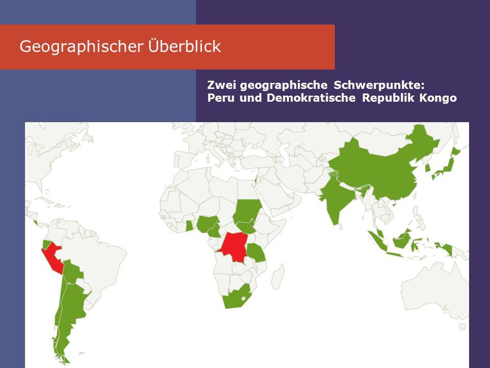 Geographischer Ü berblick Zwei geographische Schwerpunkte: Peru und Demokratische Republik Kongo
