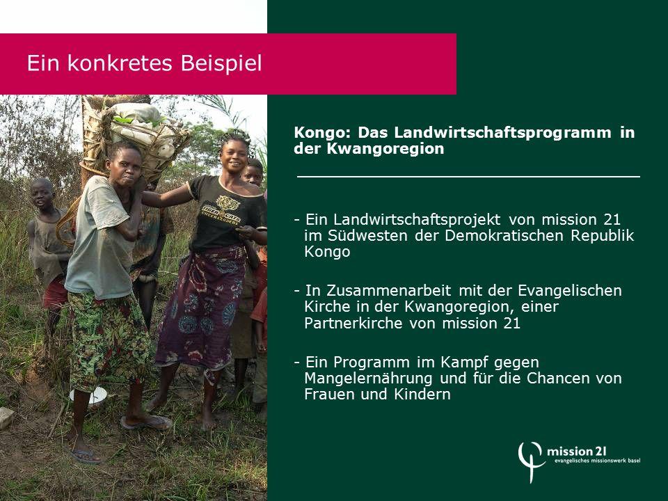 Ein konkretes Beispiel Kongo: Das Landwirtschaftsprogramm in der Kwangoregion - Ein Landwirtschaftsprojekt von mission 21 im Südwesten der Demokratischen Republik Kongo - In Zusammenarbeit mit der Evangelischen Kirche in der Kwangoregion, einer Partnerkirche von mission 21 - Ein Programm im Kampf gegen Mangelernährung und für die Chancen von Frauen und Kindern