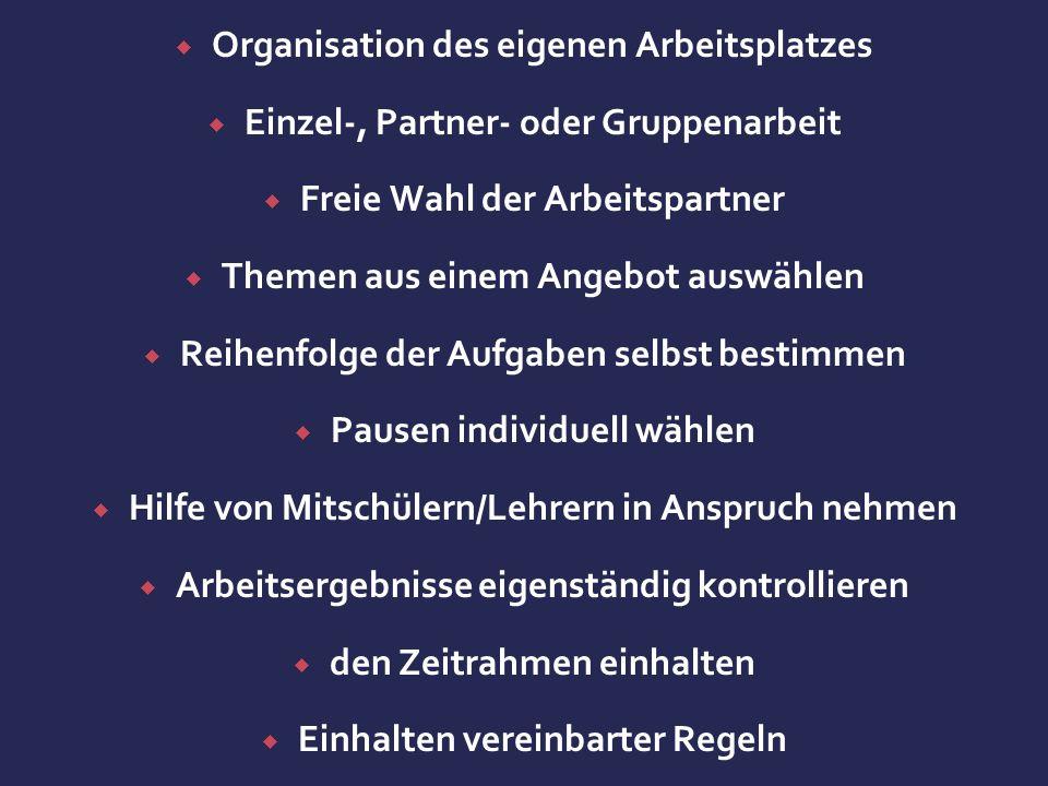  Organisation des eigenen Arbeitsplatzes  Einzel-, Partner- oder Gruppenarbeit  Freie Wahl der Arbeitspartner  Themen aus einem Angebot auswählen