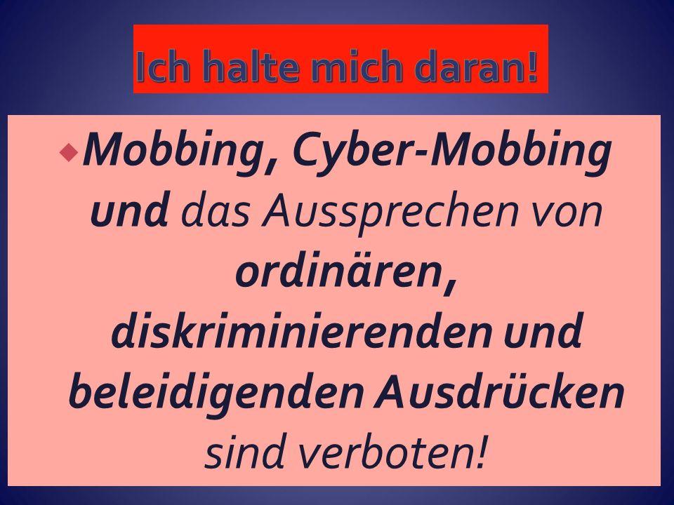  Mobbing, Cyber-Mobbing und das Aussprechen von ordinären, diskriminierenden und beleidigenden Ausdrücken sind verboten!