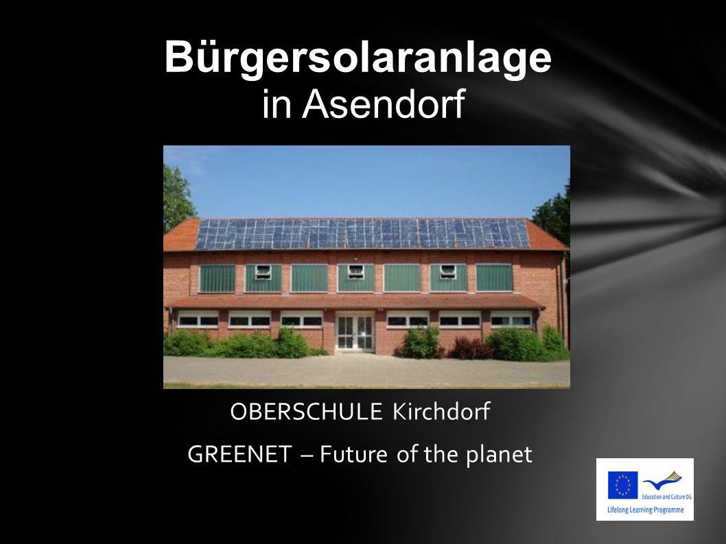 Bürgersolaranlage in Asendorf OBERSCHULE Kirchdorf GREENET – Future of the planet