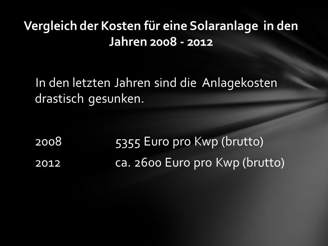 In den letzten Jahren sind die Anlagekosten drastisch gesunken. 20085355 Euro pro Kwp (brutto) 2012ca. 2600 Euro pro Kwp (brutto) Vergleich der Kosten
