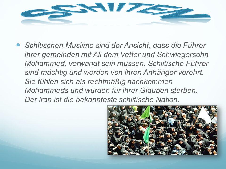 Vier von fünf Muslime gehören zum Islamischen Zweig der Sunniten. Sunniten finden, dass die muslimischen Anführer vom Volk gewählt werden sollten. Die
