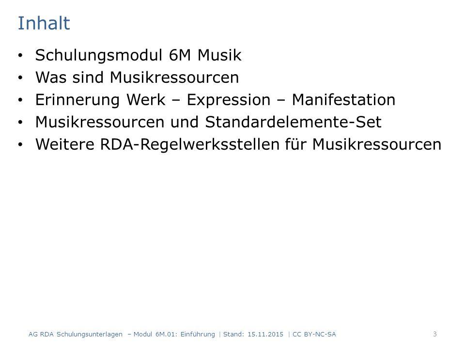 Schulungsmodul 6M Musik Das Regelwerk RDA ist ein umfassendes Regelwerk für alle Materialarten und Inhalte.