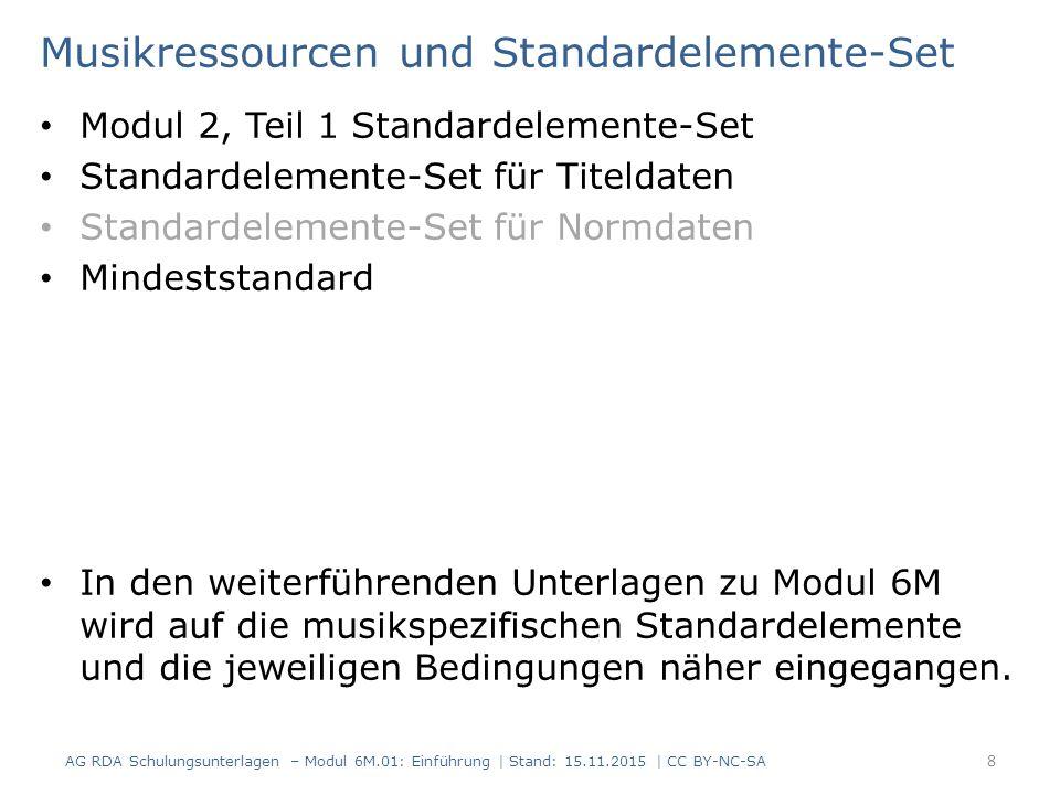 Musikressourcen und Standardelemente-Set Modul 2, Teil 1 Standardelemente-Set Standardelemente-Set für Titeldaten Standardelemente-Set für Normdaten Mindeststandard In den weiterführenden Unterlagen zu Modul 6M wird auf die musikspezifischen Standardelemente und die jeweiligen Bedingungen näher eingegangen.