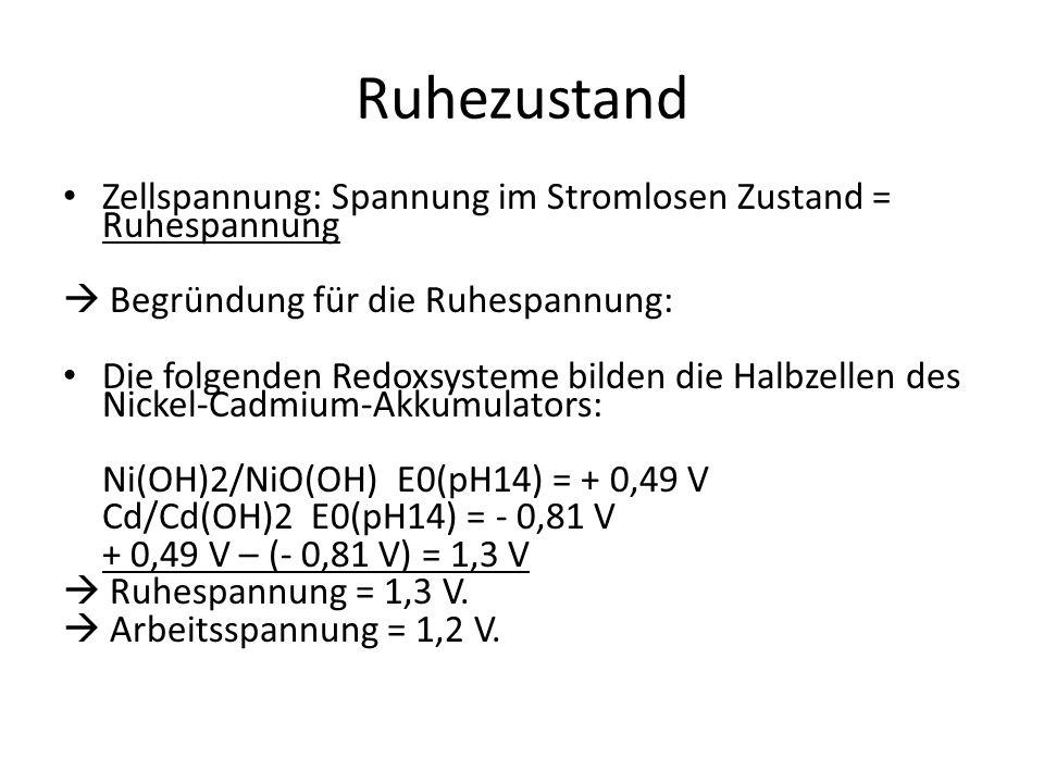 Ruhezustand Zellspannung: Spannung im Stromlosen Zustand = Ruhespannung  Begründung für die Ruhespannung: Die folgenden Redoxsysteme bilden die Halbzellen des Nickel-Cadmium-Akkumulators: Ni(OH)2/NiO(OH) E0(pH14) = + 0,49 V Cd/Cd(OH)2 E0(pH14) = - 0,81 V + 0,49 V – (- 0,81 V) = 1,3 V  Ruhespannung = 1,3 V.