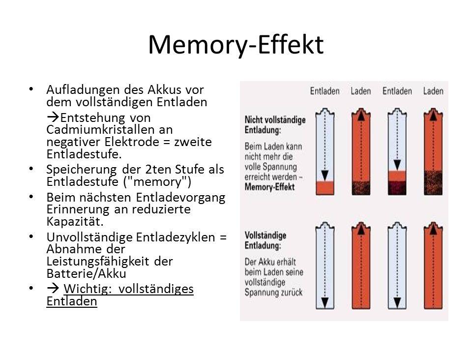 Memory-Effekt Aufladungen des Akkus vor dem vollständigen Entladen  Entstehung von Cadmiumkristallen an negativer Elektrode = zweite Entladestufe.