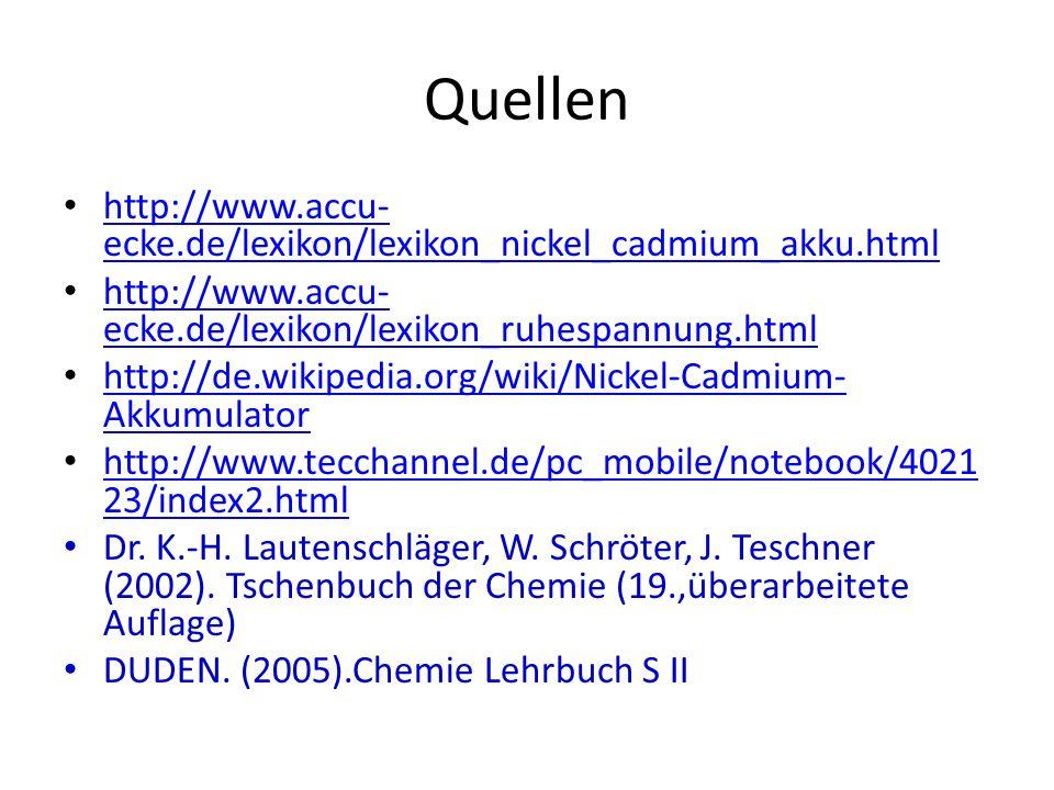 Quellen http://www.accu- ecke.de/lexikon/lexikon_nickel_cadmium_akku.html http://www.accu- ecke.de/lexikon/lexikon_nickel_cadmium_akku.html http://www.accu- ecke.de/lexikon/lexikon_ruhespannung.html http://www.accu- ecke.de/lexikon/lexikon_ruhespannung.html http://de.wikipedia.org/wiki/Nickel-Cadmium- Akkumulator http://de.wikipedia.org/wiki/Nickel-Cadmium- Akkumulator http://www.tecchannel.de/pc_mobile/notebook/4021 23/index2.html http://www.tecchannel.de/pc_mobile/notebook/4021 23/index2.html Dr.