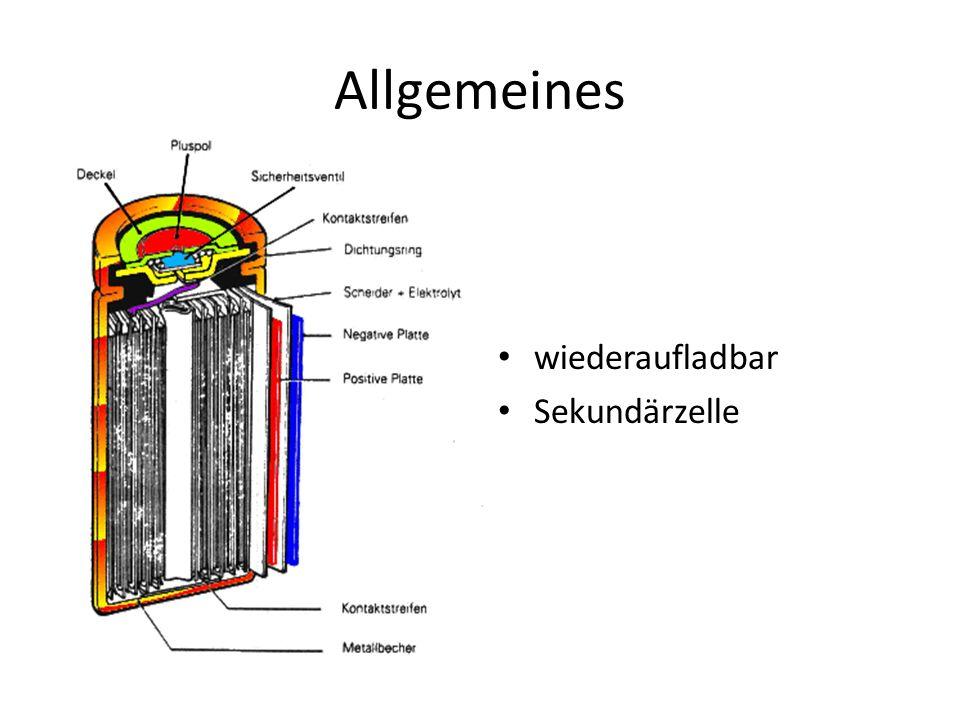 Allgemeines wiederaufladbar Sekundärzelle
