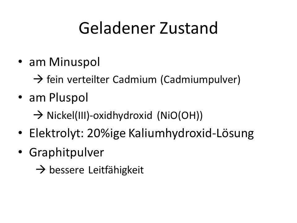 Geladener Zustand am Minuspol  fein verteilter Cadmium (Cadmiumpulver) am Pluspol  Nickel(III)-oxidhydroxid (NiO(OH)) Elektrolyt: 20%ige Kaliumhydroxid-Lösung Graphitpulver  bessere Leitfähigkeit