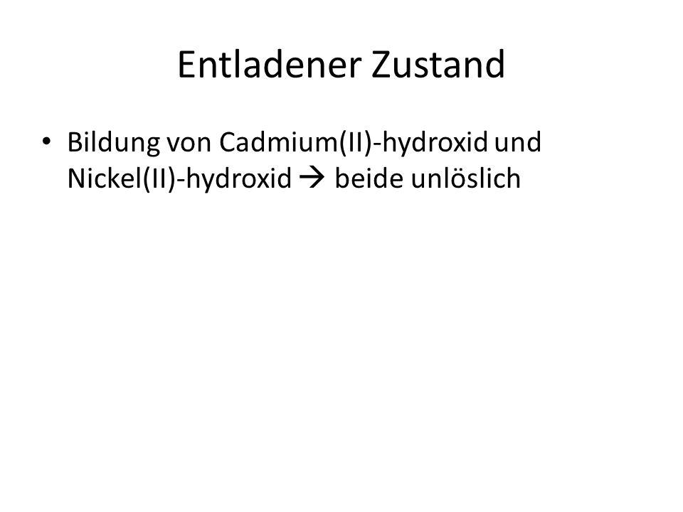 Ladevorgang Umgekehrter Ablauf der Reaktionen Cadmium-Elektrode  Minuspol  Kathode  Reduktion Nickelelektrode  Pluspol  Anode  Oxidation