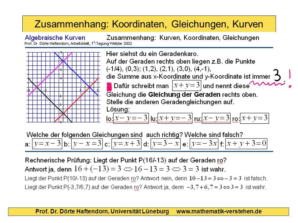 Zusammenhang: Koordinaten, Gleichungen, Kurven Prof. Dr. Dörte Haftendorn, Universität Lüneburg www.mathematik-verstehen.de