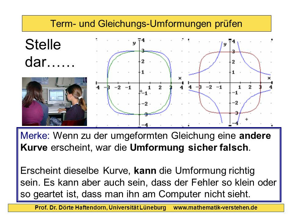 Term- und Gleichungs-Umformungen prüfen Prof. Dr. Dörte Haftendorn, Universität Lüneburg www.mathematik-verstehen.de Stelle dar…… Merke: Wenn zu der u