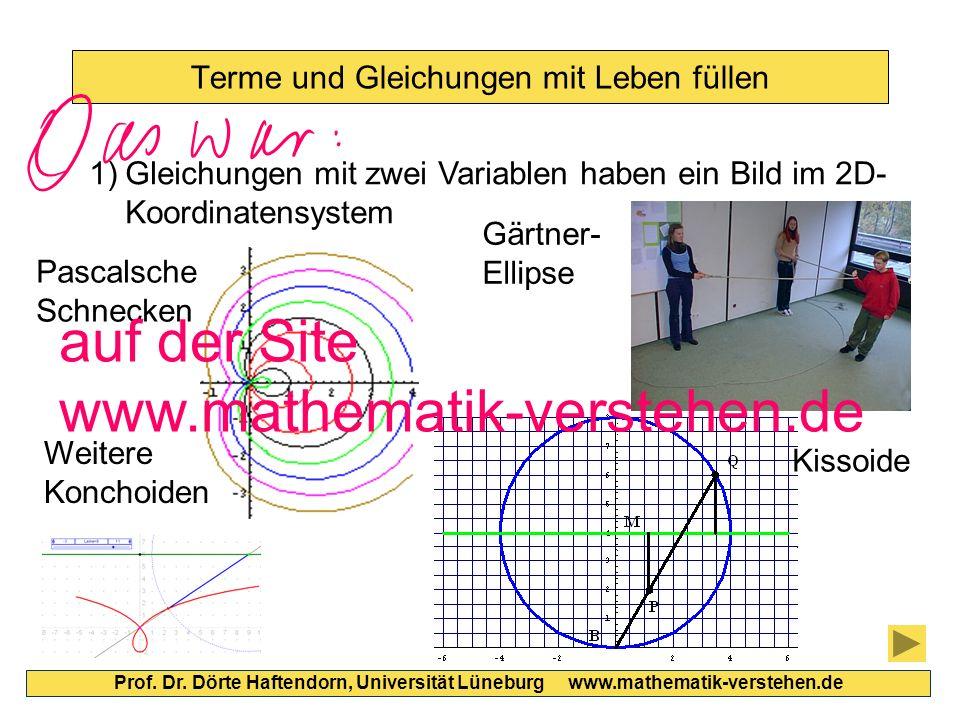 Terme und Gleichungen mit Leben füllen Prof. Dr. Dörte Haftendorn, Universität Lüneburg www.mathematik-verstehen.de 1)Gleichungen mit zwei Variablen h
