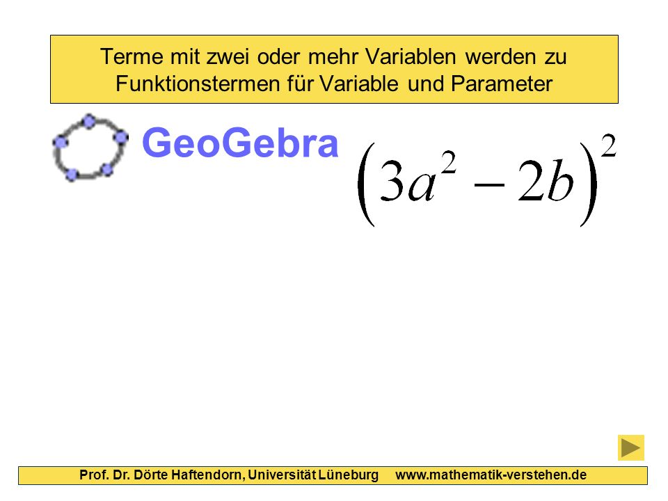 Terme mit zwei oder mehr Variablen werden zu Funktionstermen für Variable und Parameter Prof. Dr. Dörte Haftendorn, Universität Lüneburg www.mathemati
