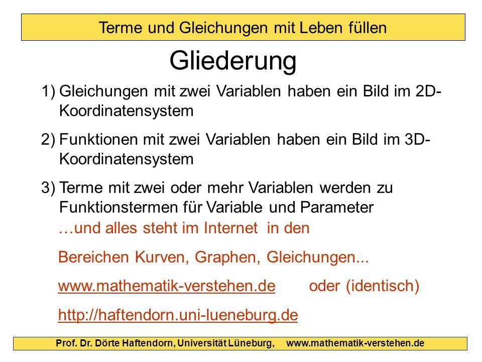 Prof. Dr. Dörte Haftendorn, Universität Lüneburg, www.mathematik-verstehen.de Terme und Gleichungen mit Leben füllen Gliederung 1)Gleichungen mit zwei