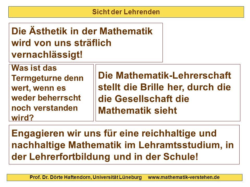 Sicht der Lehrenden Prof. Dr. Dörte Haftendorn, Universität Lüneburg www.mathematik-verstehen.de Die Ästhetik in der Mathematik wird von uns sträflich
