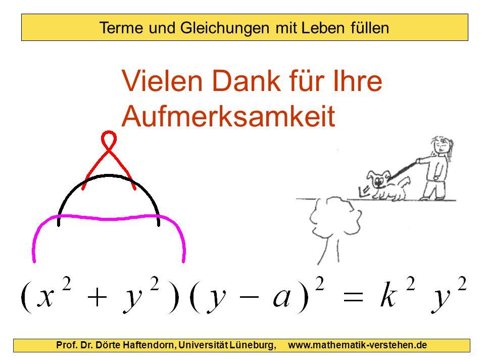 Prof. Dr. Dörte Haftendorn, Universität Lüneburg, www.mathematik-verstehen.de Vielen Dank für Ihre Aufmerksamkeit Terme und Gleichungen mit Leben füll