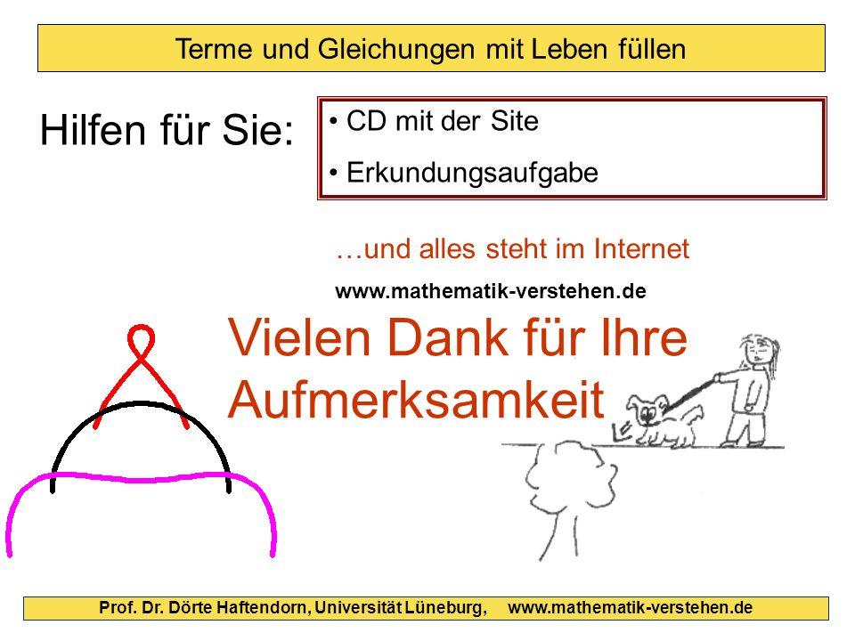 Prof. Dr. Dörte Haftendorn, Universität Lüneburg, www.mathematik-verstehen.de Terme und Gleichungen mit Leben füllen CD mit der Site Erkundungsaufgabe