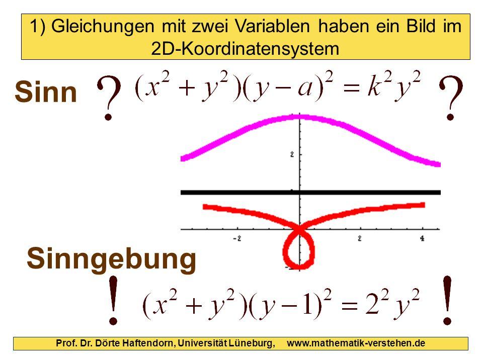 Sinn Sinngebung Prof. Dr. Dörte Haftendorn, Universität Lüneburg, www.mathematik-verstehen.de 1) Gleichungen mit zwei Variablen haben ein Bild im 2D-K