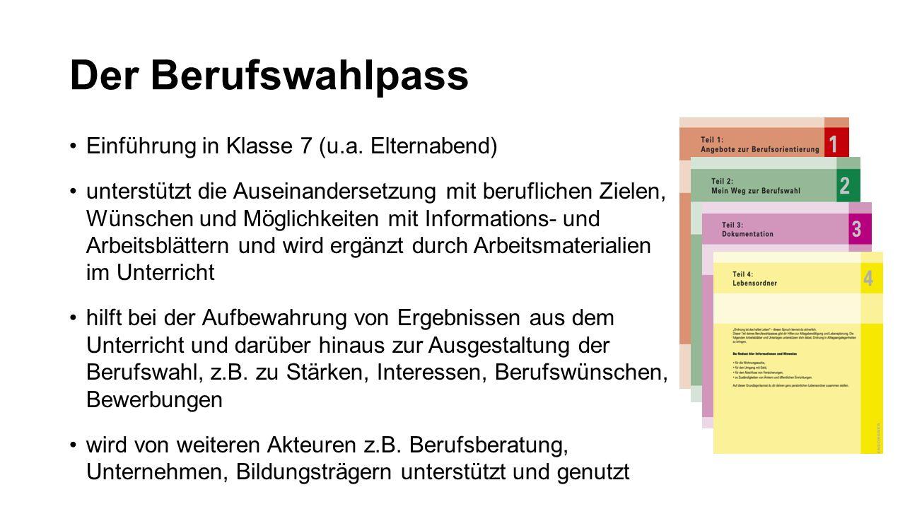 Der Berufswahlpass Einführung in Klasse 7 (u.a.