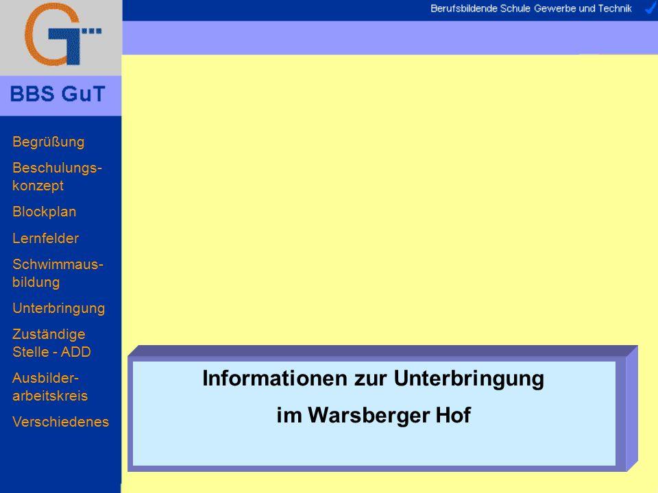 Begrüßung Beschulungs- konzept Blockplan Lernfelder Schwimmaus- bildung Unterbringung Zuständige Stelle - ADD Ausbilder- arbeitskreis Verschiedenes In