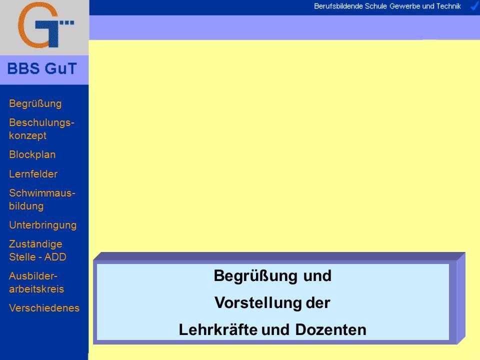 Begrüßung Beschulungs- konzept Blockplan Lernfelder Schwimmaus- bildung Unterbringung Zuständige Stelle - ADD Ausbilder- arbeitskreis Verschiedenes Lageplan...