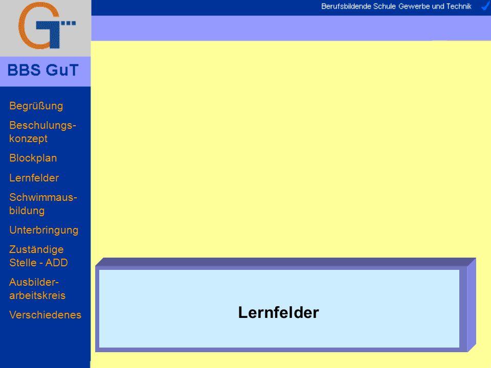 Begrüßung Beschulungs- konzept Blockplan Lernfelder Schwimmaus- bildung Unterbringung Zuständige Stelle - ADD Ausbilder- arbeitskreis Verschiedenes Stundentafel 1440 Stunden