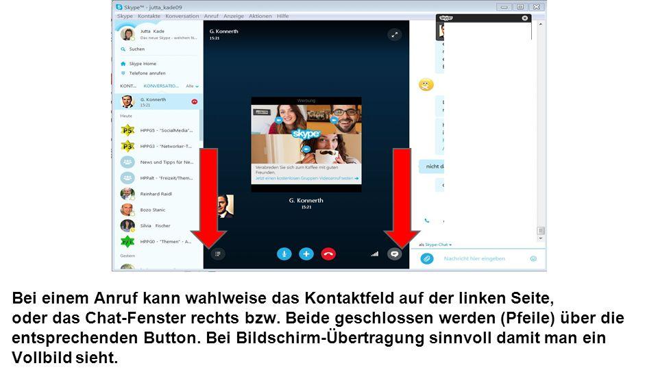 Bei einem Anruf kann wahlweise das Kontaktfeld auf der linken Seite, oder das Chat-Fenster rechts bzw.
