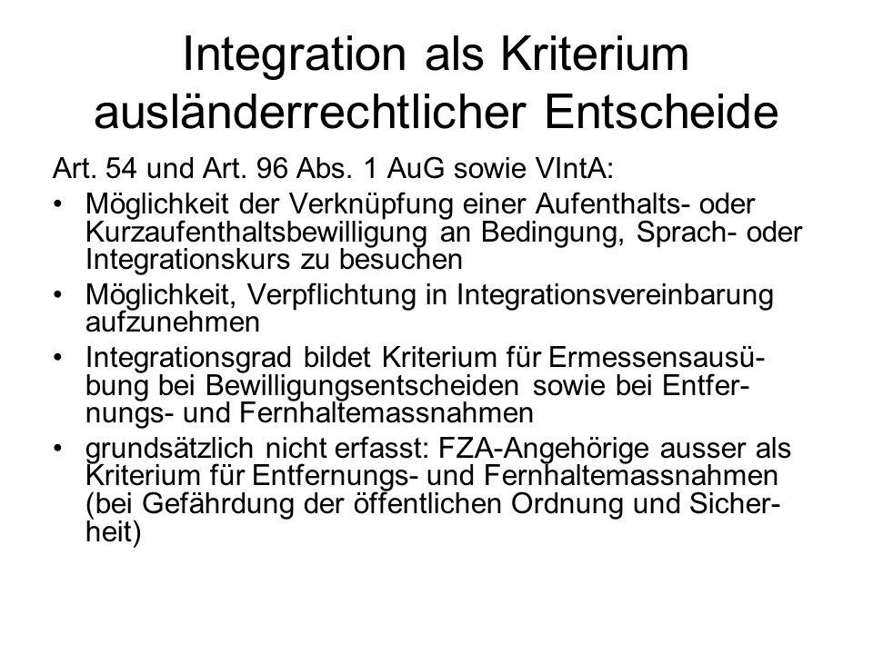 Integration als Kriterium ausländerrechtlicher Entscheide Art.