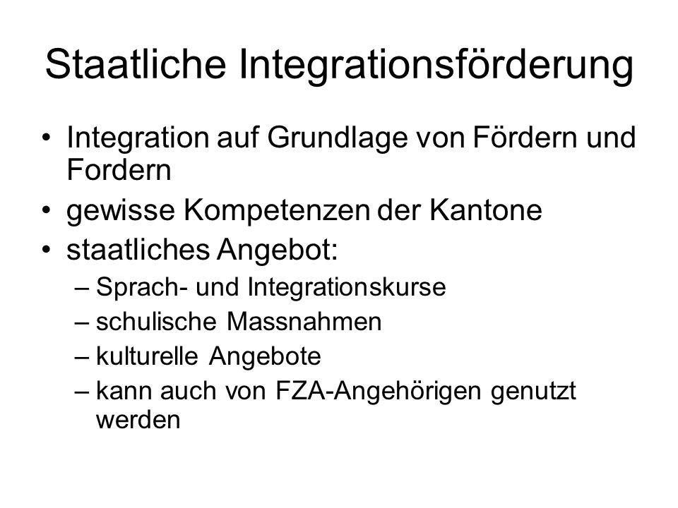 Staatliche Integrationsförderung Integration auf Grundlage von Fördern und Fordern gewisse Kompetenzen der Kantone staatliches Angebot: –Sprach- und Integrationskurse –schulische Massnahmen –kulturelle Angebote –kann auch von FZA-Angehörigen genutzt werden