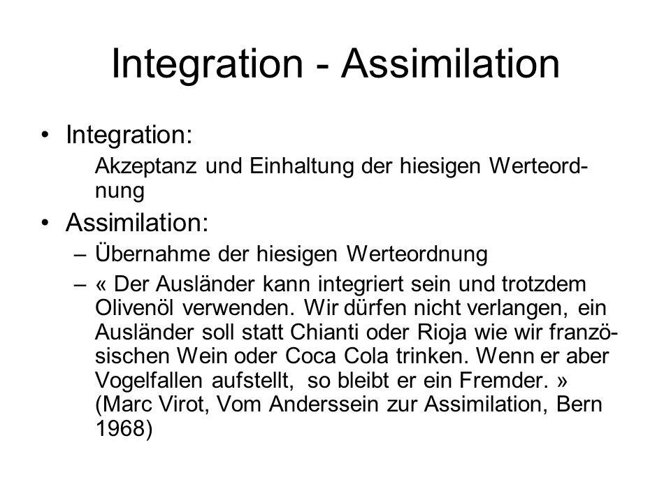 Integration - Assimilation Integration: Akzeptanz und Einhaltung der hiesigen Werteord- nung Assimilation: –Übernahme der hiesigen Werteordnung –« Der Ausländer kann integriert sein und trotzdem Olivenöl verwenden.
