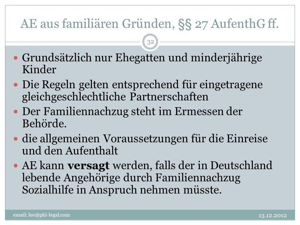AE aus familiären Gründen, §§ 27 AufenthG ff.