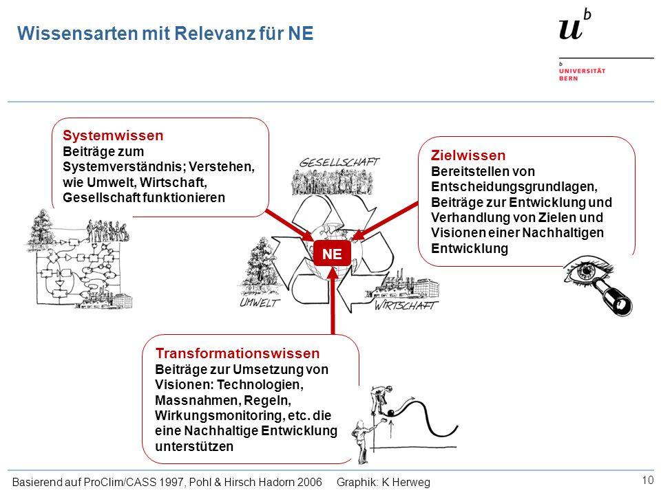 Wissensarten mit Relevanz für NE 10 Basierend auf ProClim/CASS 1997, Pohl & Hirsch Hadorn 2006 Graphik: K Herweg NE Systemwissen Beiträge zum Systemve