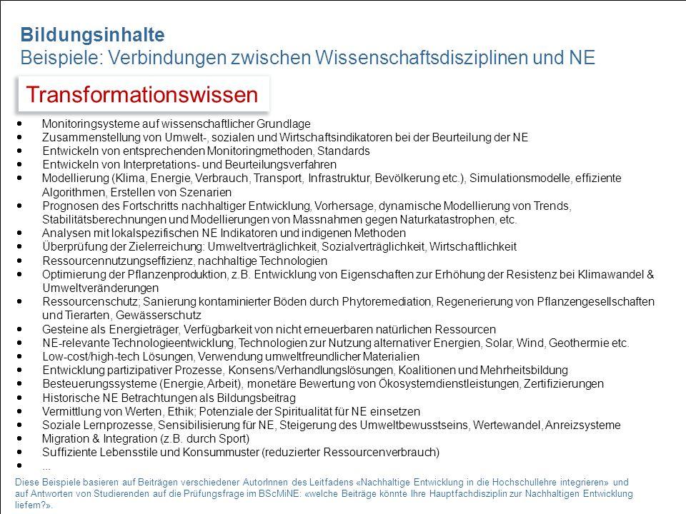 14  Monitoringsysteme auf wissenschaftlicher Grundlage  Zusammenstellung von Umwelt-, sozialen und Wirtschaftsindikatoren bei der Beurteilung der NE