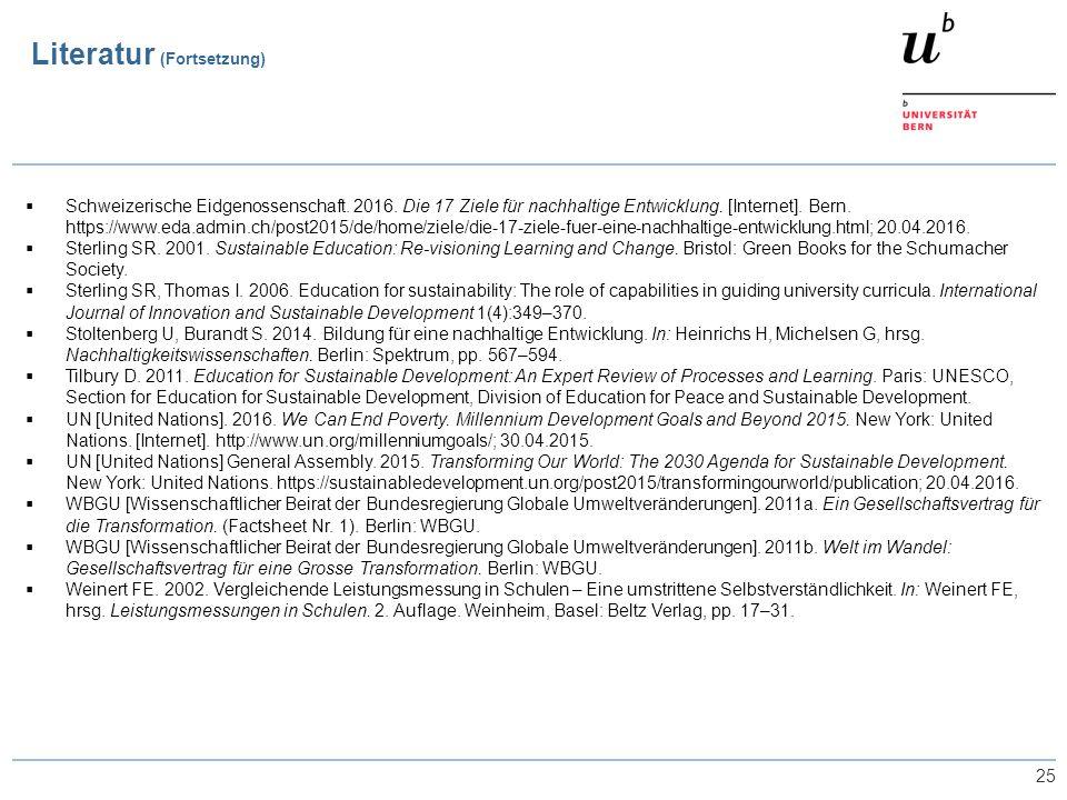 25  Schweizerische Eidgenossenschaft. 2016. Die 17 Ziele für nachhaltige Entwicklung. [Internet]. Bern. https://www.eda.admin.ch/post2015/de/home/zie