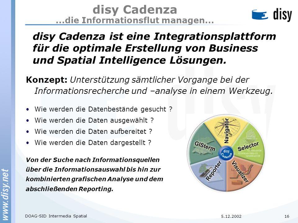 5.12.2002 DOAG-SID Intermedia Spatial 16 disy Cadenza...die Informationsflut managen...