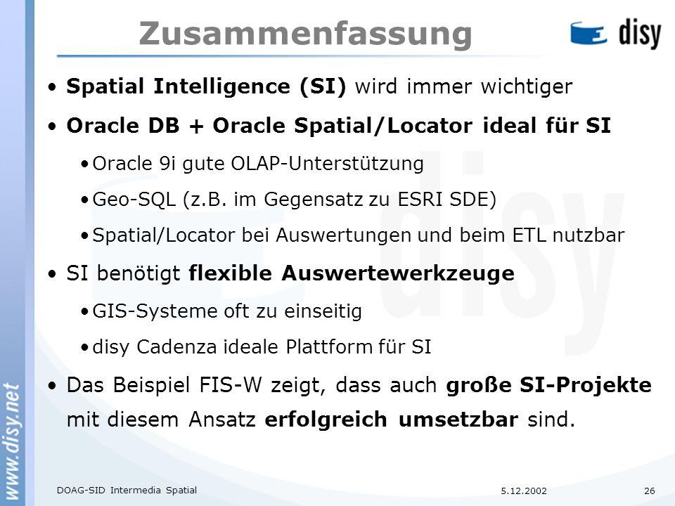 5.12.2002 DOAG-SID Intermedia Spatial 26 Zusammenfassung Spatial Intelligence (SI) wird immer wichtiger Oracle DB + Oracle Spatial/Locator ideal für SI Oracle 9i gute OLAP-Unterstützung Geo-SQL (z.B.