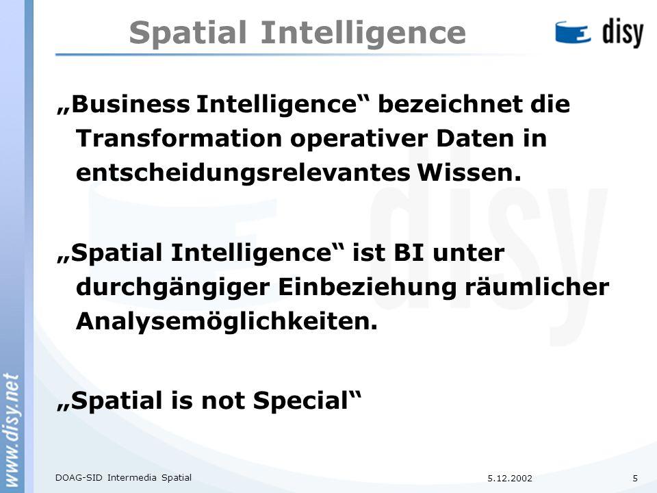 """5.12.2002 DOAG-SID Intermedia Spatial 5 Spatial Intelligence """"Business Intelligence bezeichnet die Transformation operativer Daten in entscheidungsrelevantes Wissen."""