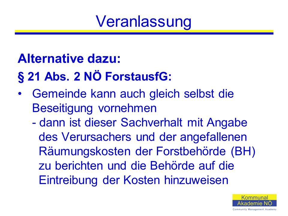 Veranlassung Alternative dazu: § 21 Abs.