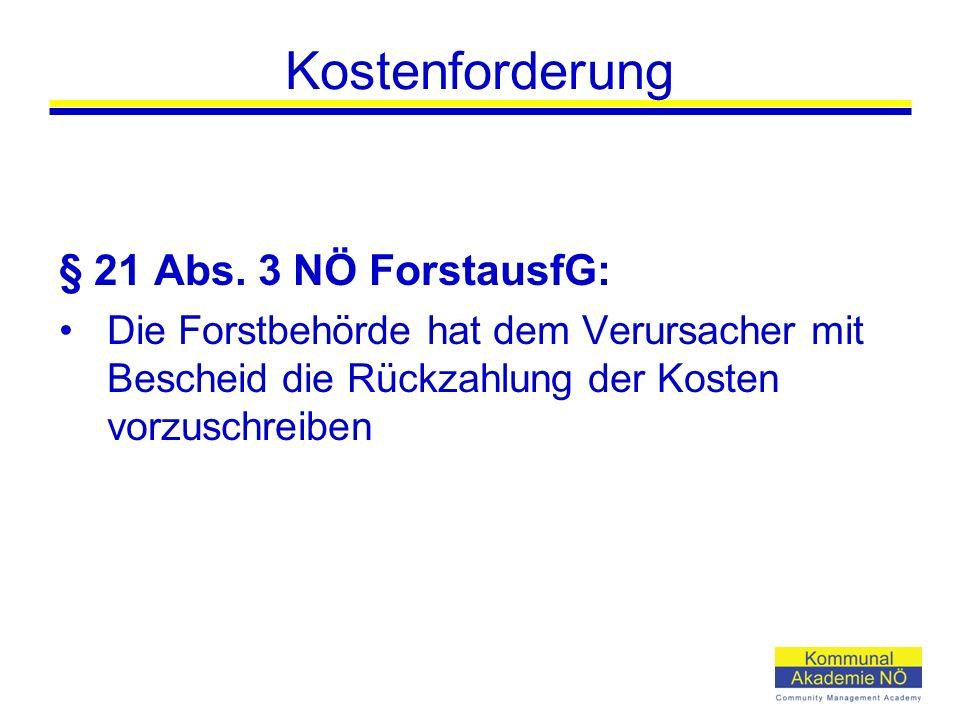 Kostenforderung § 21 Abs.