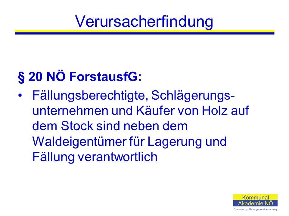 Verursacherfindung § 20 NÖ ForstausfG: Fällungsberechtigte, Schlägerungs- unternehmen und Käufer von Holz auf dem Stock sind neben dem Waldeigentümer für Lagerung und Fällung verantwortlich