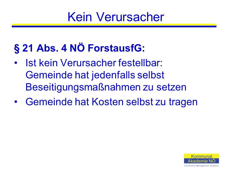 Kein Verursacher § 21 Abs.
