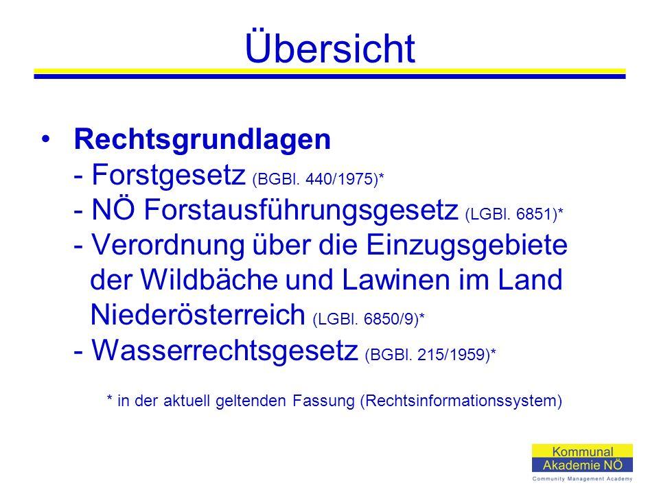 Übersicht Rechtsgrundlagen - Forstgesetz (BGBl.440/1975)* - NÖ Forstausführungsgesetz (LGBl.