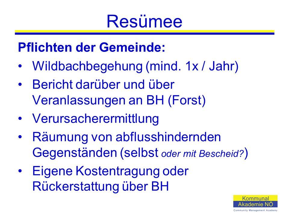 Resümee Pflichten der Gemeinde: Wildbachbegehung (mind.