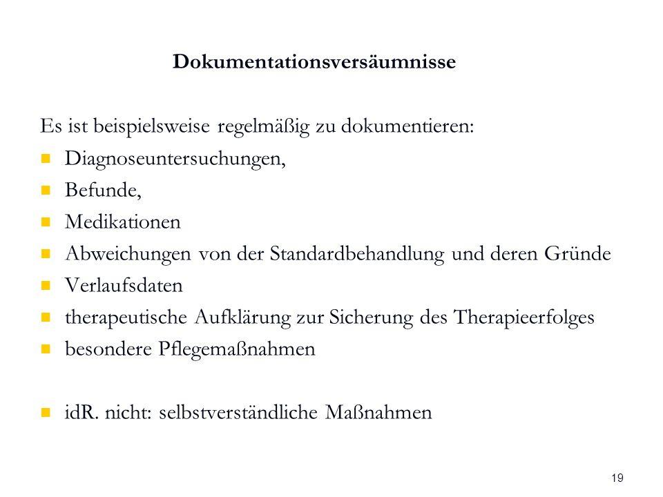 Wolfgang Frahm Arzthaftung Dokumentationsversäumnisse Es ist beispielsweise regelmäßig zu dokumentieren: Diagnoseuntersuchungen, Befunde, Medikationen Abweichungen von der Standardbehandlung und deren Gründe Verlaufsdaten therapeutische Aufklärung zur Sicherung des Therapieerfolges besondere Pflegemaßnahmen idR.