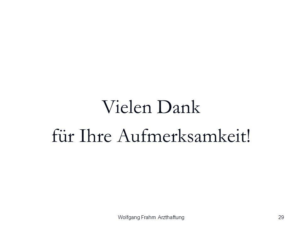 Wolfgang Frahm Arzthaftung Vielen Dank für Ihre Aufmerksamkeit! 29