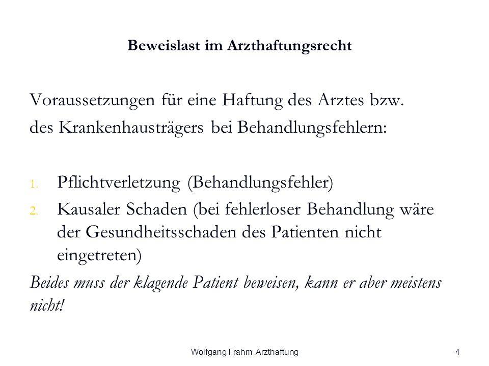 Wolfgang Frahm Arzthaftung Beweislast im Arzthaftungsrecht Voraussetzungen für eine Haftung des Arztes bzw.