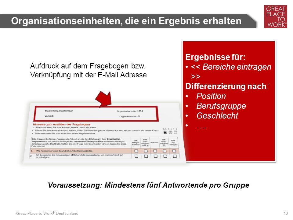 Great Place to Work ® Deutschland 13 Organisationseinheiten, die ein Ergebnis erhalten Ergebnisse für: > Differenzierung nach: Position Berufsgruppe Geschlecht ….