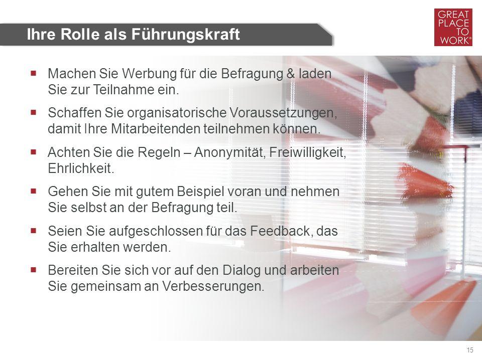 Great Place to Work ® Deutschland 15 Ihre Rolle als Führungskraft  Machen Sie Werbung für die Befragung & laden Sie zur Teilnahme ein.  Schaffen Sie